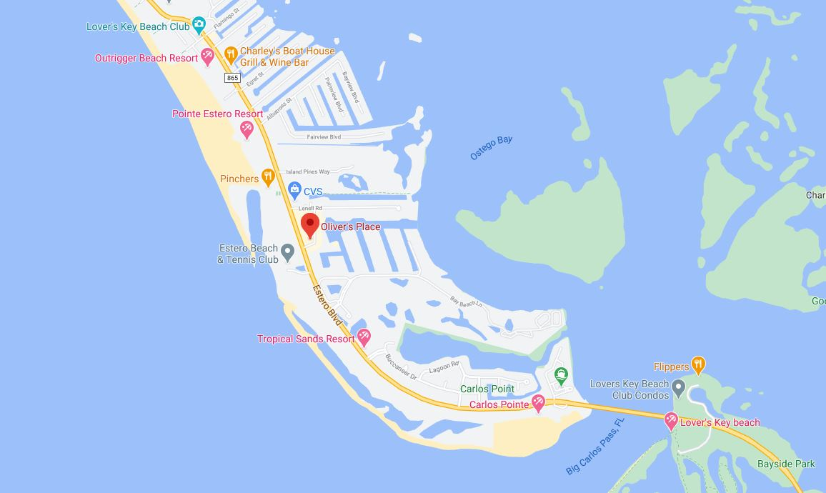 Map-location-olivers place-fort myers beach